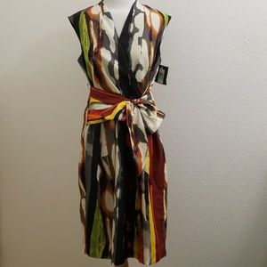 NWT Ellen Tracy Faux Wrap Tie Front Dress D40
